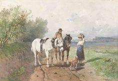 Anton Mauve - Praatje op een landweg