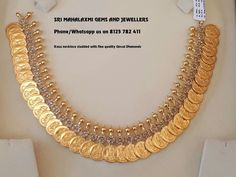 Kasu Necklace studded with Fine Quality Uncut Diamonds set in pressure setting 45 gms. Real Gold Jewelry, Gold Jewelry Simple, Gold Jewellery, Indian Jewelry, Jewelery, Bridal Jewelry Vintage, Wedding Jewelry, Antique Jewelry, Gold Coin Necklace