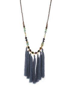 Long Beaded Multi-Tassel Pendant Necklace