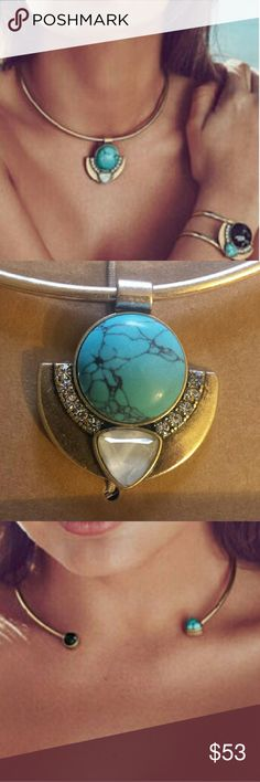 """Capri convertible necklace Wear with pendant or unscrew the end to wear as a collar/choker style front to back! Antique gold plated, nickel free with 16"""" approx circumference. White mother of pearl inlay with semi precious turquoise and marbled black stone. Clear crystal pave stones. Comes in gift/storage box. Jewelry Necklaces"""