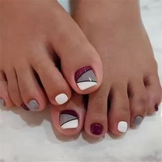 27 Adorable Easy Toe Nail Designs 2020 – Simple Toenail Art Designs : Page 23 of 25 : Creative Vision Design – nageldesign. Fall Toe Nails, Simple Toe Nails, Pretty Toe Nails, Cute Toe Nails, Summer Toe Nails, Classy Nails, My Nails, Toe Nail Designs Simple, Cute Toes