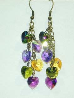 JBB Purple Green inspired by Pididdly Links Mardi Gras Colors Swarovski Hearts Charm Earrings