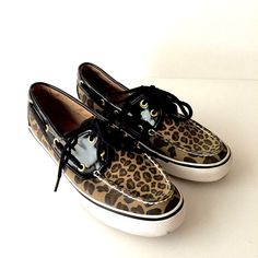 eae65a1a333 Women s Sperry Top Sider Leopard Print Black Patent Loafers Boat Shoes Size  7  SperryTopSider