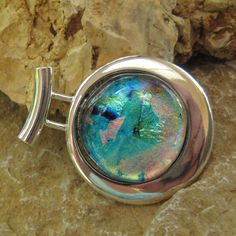 Dichroic Fused Glass in a Silver Setting Blue and by GlassCat, $32.00