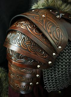 Vendel larp leather shoulder armour complete DIY kit (Norse Wolf Embossing)