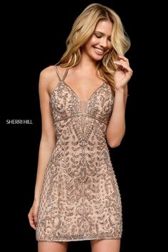 Sherri Hill 52200 beaded cocktail dress with v-neck bodice and cut out back. WE CAN ORDER ANY JOVANI, Terani Couture, MNM Couture, Sherri Hill. I hope you enjoy our selection of evening gowns for your special occasions. Hoco Dresses, Pretty Dresses, Sexy Dresses, Beautiful Dresses, Dresses For Work, Formal Dresses, Short Evening Dresses, Elegant Dresses, Sherri Hill Homecoming Dresses