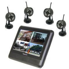 """4Ch 2.4Ghz Wireless Digital Waterproof Camera & 7""""  TFT LCD Monitor with QUAD Display & Local Recording in Max 32Gb TF Card"""