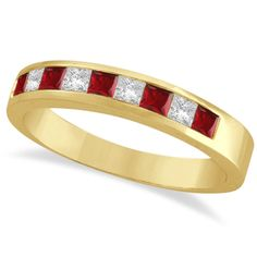 This gorgeous ladies gemstone band includes 4 princess cut diamonds and 5 princess cut rubies beautifully set in a 14kt yellow gold channel setting.The stones weigh a total of 0.79 carat. <p> Wear this designer as a right hand ring, as an anniversary band, as a July birthstone ring, as a mother's ring, or as a wedding band.