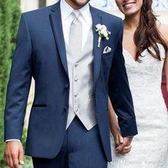 Blue Wedding Suit Groom, Navy Blue Groom, Gray Suit Groom, Grey Tweed Wedding Suit, Gray Tux, Navy Tuxedos, Navy Suits, Navy Suit Blue Tie, Groom And Groomsmen Suits