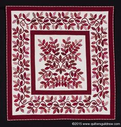 Red Leaves by Judy Day<br/> Retaining the Tradition Award   First Prize: Red & White: Predominantly Hand Quilted