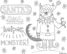 FREE Christmas colouring sheet by Madi Illustration - Available to download here; http://madiillustration.blogspot.co.uk/2012/12/santas-little-helper.html