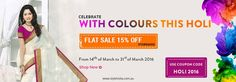 Holi Special sale finishing on 31/03/2016. Storewide flat 15% off- Hurry Don't miss out www.styleindia.com.au Use coupon code HOLI 2016
