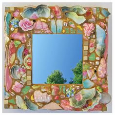 One-of-a-kind Pique Assiette Mosaic Mirror, 10 Inches Square, created from shards of broken antique Bavaria Fruit Bowl Rims and other