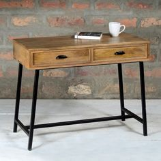 Suri Industrial Modern Narrow Console Table with Drawers in Mango Wood & Metal Detail SUR009