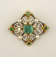 Brooch 1800's; Gold, enamel, pearls, diamonds, emeralds.