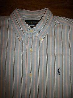Ralph Lauren Classic Fit Men's L Long Sleeve Button Cotton Shirt Pony Logo Blue