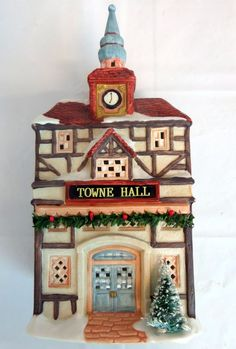 Christmas Valley Porcelain House Maison Towne Hall Holiday 1993 Village #SeasonalSpecialities