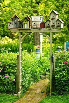 Bird house village in garden.