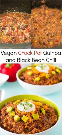 This Vegan Crockpot Quinoa and Black Bean Chili needs only 10 minutes prep then right into the crockpot! It results in a thick, filling and delicious chili.