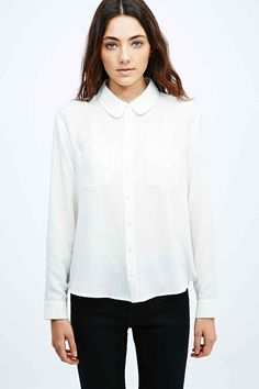 Cooperative Curved Collar Shirt in White