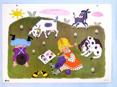 School poster French vintage 1960  children colorful
