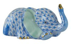 Herend Figurine Blue Baby Elephant Done in Blue Fishnet Design with Greenish Ears and Gold Accents.