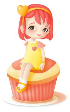 Have a heart Girl sitting on cupcake