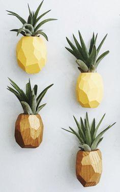Handmade Wooden Pineapple Air Plant Holders GoodsmithShop on Etsy Pineapple Kitchen, Pineapple Room Decor, Pinapple Decor, Air Plants, Indoor Plants, Fleur Design, Home And Deco, Plant Holders, Urban Gardening