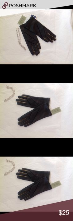 Dark brown fully lined leather gloves Dark Brown with Bronze in between fingers leather gloves. 100% polyester fleece lined. Flat 10 inches long. Fownes Accessories Gloves & Mittens