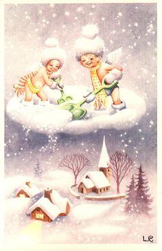 Christmas Postcard of Snow Angels Shoveling Clouds Down as Snow Christmas Angels, Christmas Greetings, Kids Christmas, Snow Angels, Christmas Things, White Christmas, Christmas Crafts, Merry Christmas, Vintage Christmas Cards