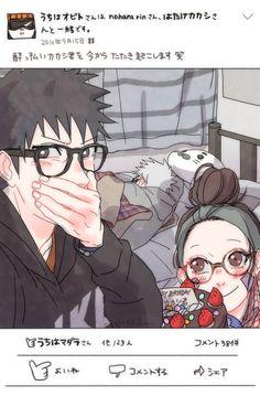 AU Obito and Rin are giving a surprise birthday cake for Kakashi. Obito looks so. Naruto Kakashi, Madara Uchiha, Boruto, Naruto Teams, Naruto Cute, Naruto Funny, Anime Naruto, Akatsuki, Otaku Anime