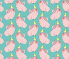 Big pig and little bird fabric by petitspixels on Spoonflower - custom fabric