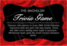 The Bachelor Trivia by TheBoxBash on Etsy - 16 multiple choice questions for all members of The Bachelor Nation