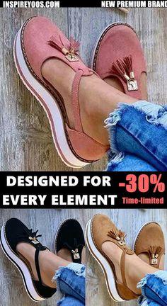Women Plus Size Tassel Buckle Strap Casual Platform Sandals Black Stiletto Heels, Platform High Heels, Comfy Shoes, Pretty Shoes, Dream Shoes, Casual Boots, Types Of Shoes, Ugg Boots, Fashion Shoes