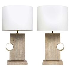 Pair of Elegant Concrete and Brass Table Lamps | From a unique collection of antique and modern table lamps at https://www.1stdibs.com/furniture/lighting/table-lamps/