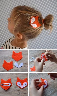 """Felt Fox Hair Clip For Kids Create with children: hairpin """"Li . Felt Fox Hair Clip For Kids Design with children: the clip """"Lee … – Fabric Crafts, Sewing Crafts, Sewing Projects, Felt Crafts Patterns, Cardboard Crafts, Craft Projects, Kids Crafts, Baby Crafts, Easter Crafts"""