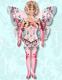 Vintage Paper Doll - Digitial Download  - Altered Art -  U Print Format - Articulated Paperdoll 3ARTDOLL.