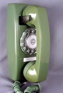 Avacado Green Wall Phone....This the the exact phone I beat my little sister with when we were kids... lol