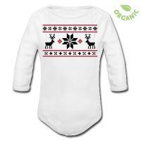 Norway sweater look baby body with reindeer print. Oh de(e)r god ... ;-)
