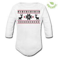 Norway sweater look baby body with reindeer print. Oh de(e)r god ... ;-)