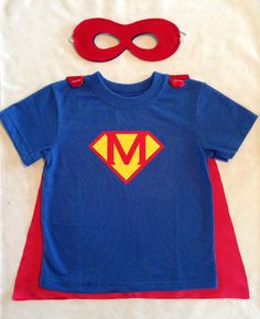 SUPER MAX!!  Personalized Superman T-Shirt with Detachable Satin Cape and Reversible Mask, Children and Toddler Super Hero Apparel or Costume on Etsy, $32.00