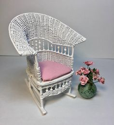 Miniature Wire Wicker Rocking Chair with Flowers