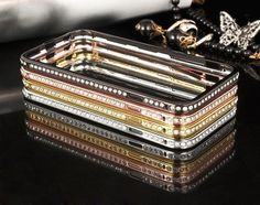Luxus Glänzende Diamanten Metall Rand Handyhülle für iphone 6 und iphone 6 plus - elespiel.com