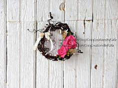 Pink & Tan Burlap Rose mini grapevine and bittersweet wreath