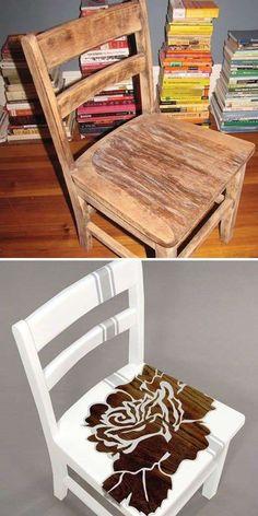 Decorare una sedia vecchia in modo fantasioso senza spendere una fortuna.