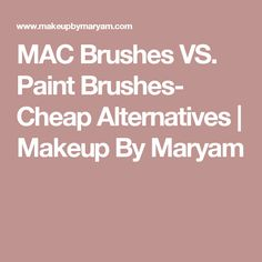 MAC Brushes VS. Paint Brushes- Cheap Alternatives   Makeup By Maryam