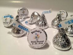 The Candy Bar Wrapper - Bridal Shower Personalized Hersheys Kisses (96 per set), $21.50 (http://www.thecandybarwrapper.com/bridal-shower-personalized-hersheys-kisses.html)