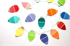 Paint chip christmas garland! kid craft! - A girl and a glue gun