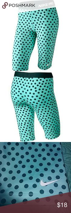 Sale !!! Nwt Nike compression shorts This is a new pair of women's Nike Pro compression shorts  size large polka dot teal aqua Nike Shorts