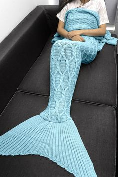$21.44 Simple Style Solid Color Crochet Knitting Geometric Pattern Mermaid Tail Design Blanket